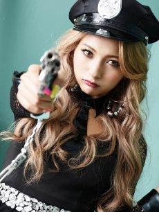 画像5: 【キャバコスプレ4点セット】メッシュペプラムかっこいいポリスコスプレ【noalice By Ryuyu】【ノアリス】ネクタイ長袖婦人警官ハロウィン衣装クラブやパーティーに♪(S/M/L)(ブラック) (5)