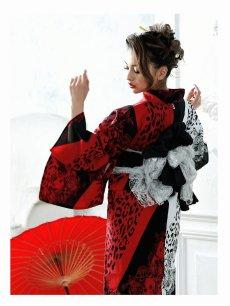 画像3: 赤×黒レオパード半身柄浴衣 ゆきぽよ 着用【noalice By Ryuyu】【ノアリス】豹柄花魁風レディース浴衣(フリーサイズ)(レッド) (3)