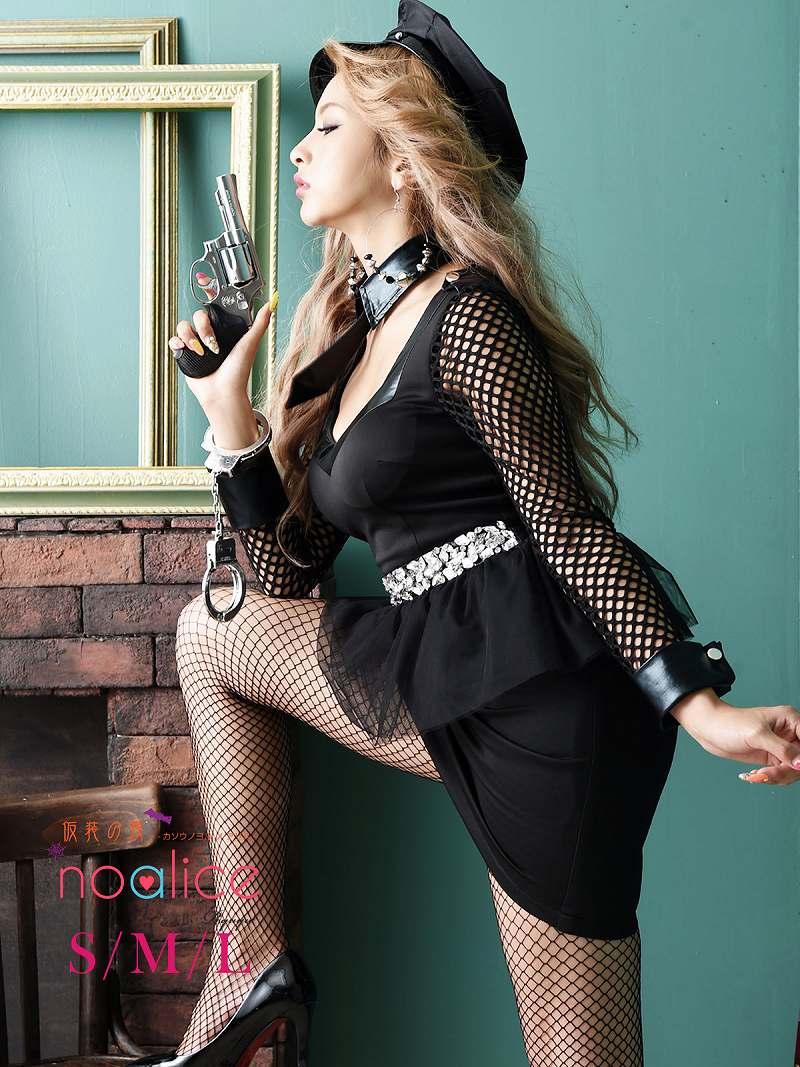 画像1: 【キャバコスプレ4点セット】メッシュペプラムかっこいいポリスコスプレ【noalice By Ryuyu】【ノアリス】ネクタイ長袖婦人警官ハロウィン衣装クラブやパーティーに♪(S/M/L)(ブラック) (1)